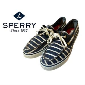 Sperry Striped Navy Blue & White Boat Shoes